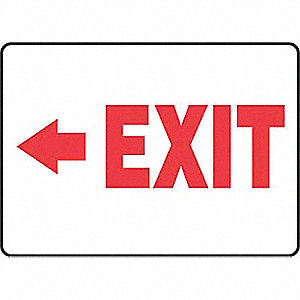 Emergency Exit Sign,7 x 10In,R/WHT,PLSTC