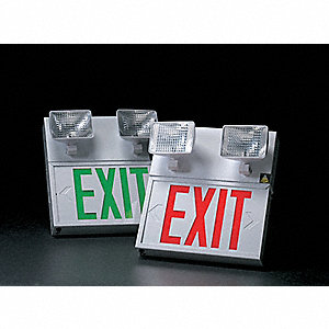 Exit Sign w/Emergency Lights,8W,Red