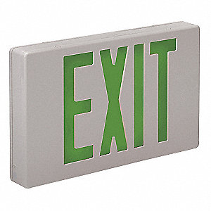 2 Face LED Exit Sign, White Plastic Housing, Green Letter Color