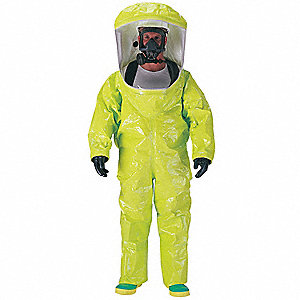 Level A Rear-Entry Encapsulated Suit, Lime Yellow, Size L, PVC