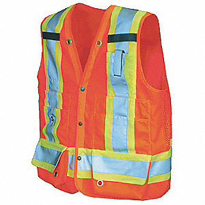 Orange/Red with Silver Stripe Fall Protection Compatible Vest, ANSI 2, Snap Closure, L