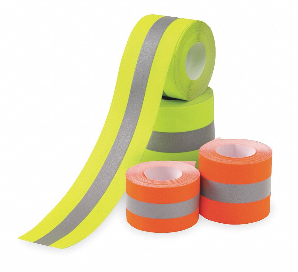 Orange/Silver Reflective Clothing Tape, Width 2 in, Length 25 ft