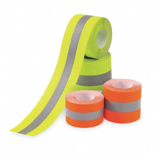 Lime/Silver Reflective Clothing Tape, Width 1 1/2 in, Length 25 ft
