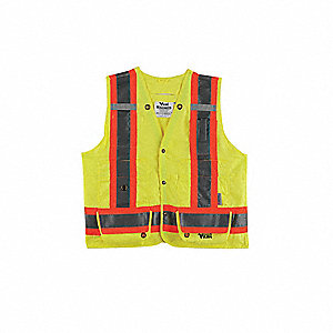 Yellow/Green with Silver Stripe Fall Protection Compatible Vest, ANSI 2, Snap Closure, S