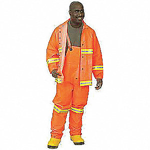 "Men's Hi-Visibility Orange PVC Rainsuit with Detachable Hood, Size: 2XL, Fits Chest Size: 52"" to 54"""