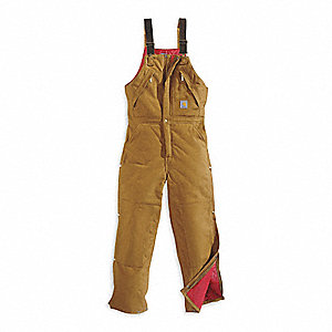 Bib Overalls,Brown,Size 46x30 In