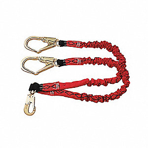 Stretchable Shock-Absorbing Lanyard, Number of Legs: 2, Working Length: 6 ft.