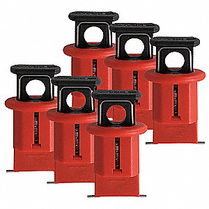 "Circuit Breaker Lockout, Pin-Out, Wide, Red, 9/32"" Padlock Shackle Max. Dia., 6 PK"