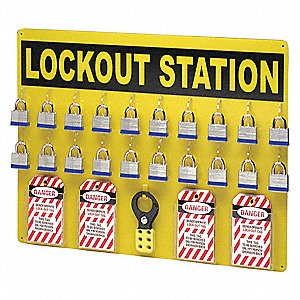 "Lockout Station, Filled, General Lockout/Tagout, 19"" x 24"""
