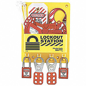 "Lockout Station, Filled, Electrical Lockout, 9-3/4"" x 7-3/4"""