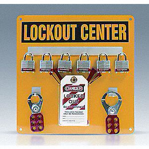 "Lockout Center, Filled, General Lockout/Tagout, 14"" x 14"""