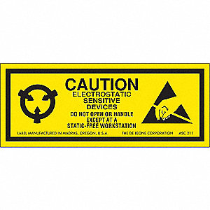 Shipping Labels, Caution Electrostatic Sensitive Devices Do Not Open or Handle Except At A Static Fr
