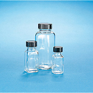Wide Mouth Round Bottle, Glass, Clear, 120 PK