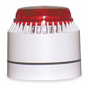 Horn Strobe, Continuous Sound Pattern, 18 to 30VDC Voltage, Decibels: 82 to 100dB, Color: White/Red