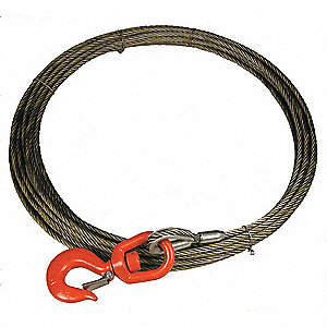 50 ft. Carbon Steel Wire, Bright Winch Cable with 3760 lb. Working Load Limit