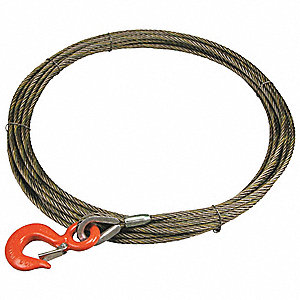 50 ft. Carbon Steel Wire, Bright Winch Cable with 4800 lb. Working Load Limit