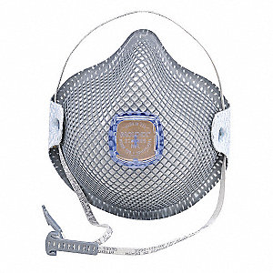 R95 Disposable Respirator, Molded, Gray, Mask Size: S, 10PK
