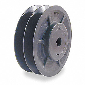 "V-Belt Pulley,1-1/8""VrPitch,3.95""OD,Iron"