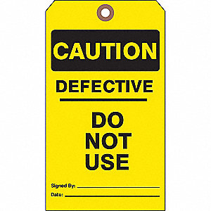 "Caution Tag, Cardstock, Height: 7"", Width: 4"", Yellow"