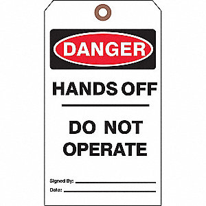 DANGER TAG,7 X 4 IN,BK AND R/WHT,PK