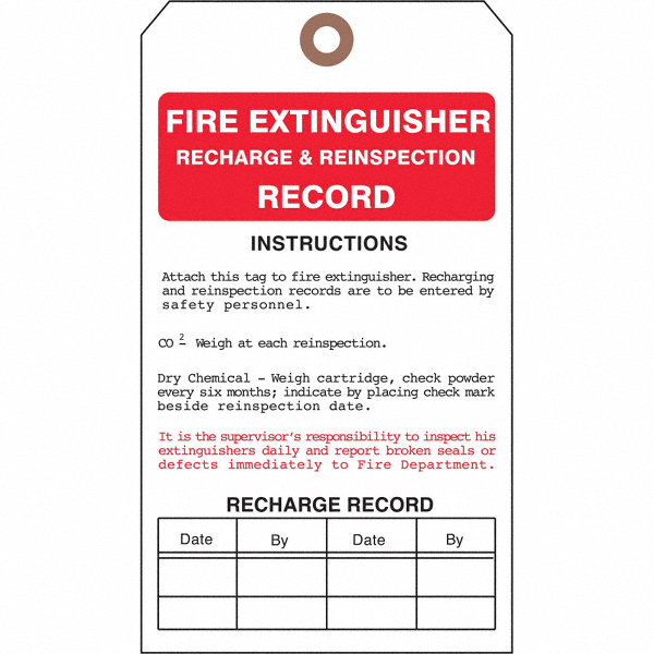 see all industries cardstock fire extinguisher record