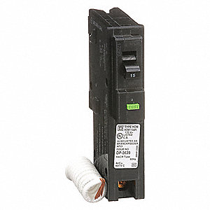 Plug In Circuit Breaker, HOM, Number of Poles 1, 15 Amps, 120/240VAC, Arc Fault Circuit Interrupter