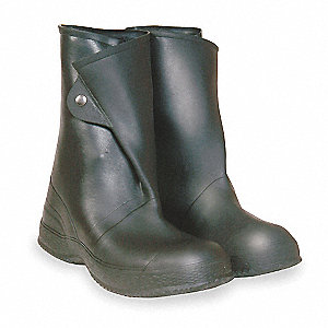 "12""H Men's Overboots, Plain Toe Type, PVC/Vinyl Upper Material, Black, Size 12"