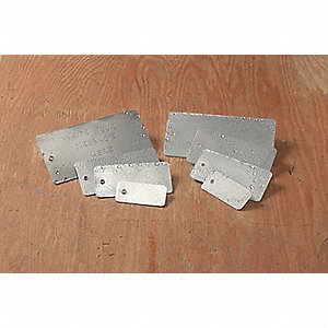 "Silver Blank Tag, Double Layer Aluminum Laminated to Tagboard, Rectangle, 1-3/8"" Height, 25 PK"