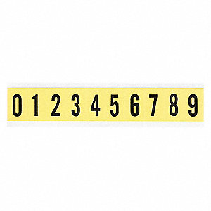 "Carded Number Kit, 0 Thru 9, Black On Yellow, 1"" Character Height, 1 EA"