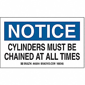 Gas Cylinder Label, 3 In. H, 5 In. W, PK10