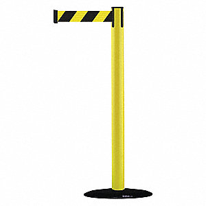 Barrier Post with Belt,PVC,Yellow