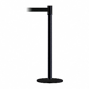 Barrier Post with Belt,7-1/2 ft. L,Black