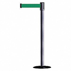 Barrier Post with Belt,7-1/2 ft. L,Green