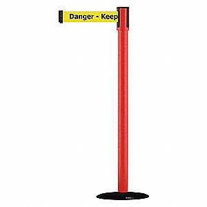 Barrier Post w/ Belt,Red,Black No Scuff