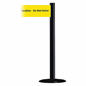 Barrier Post with Belt,Black No Scuff