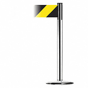 Barrier Post with Belt,Polished Chrome