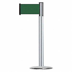 Barrier Post with Belt,Satin Chrome