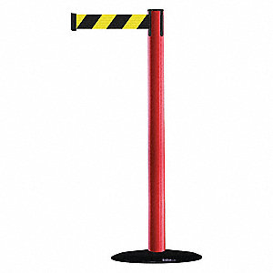 Barrier Post with Belt,PVC,Red