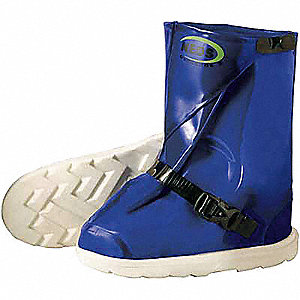 "12""H Men's Overboots, Plain Toe Type, Polyurethane Upper Material, Blue/Black/White, Size 3XL"