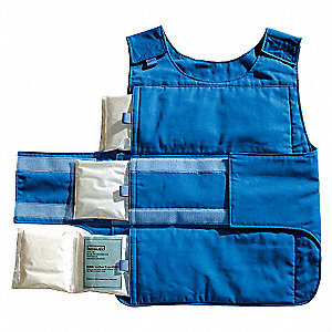 Cooling Vest, Polyester, Cotton, Blue, Universal