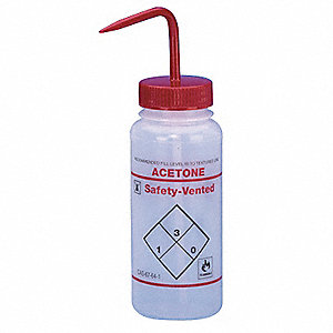 Wash Bottle, 3 PK, LDPE, Wide Mouth, Vented, Capacity: 500mL