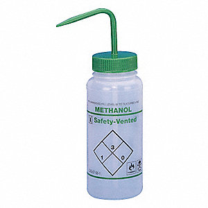Wash Bottle,Std,16 oz,Methanol,Grn,PK3