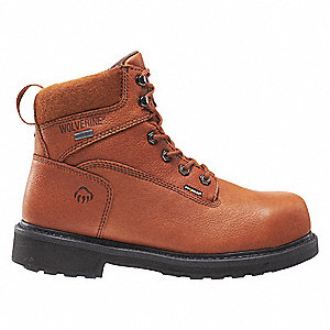 "6""H Men's Work Boots, Composite Toe Type, Leather Upper Material, Brown, Size 9-1/2EW"