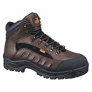 "6""H Men's Hiking Boots, Steel Toe Type, Leather Upper Material, Dark Brown/Black, Size 7-1/2W"