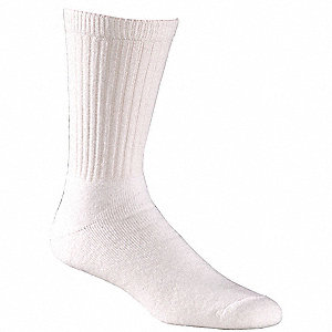 Crew Acrylic, Nylon, Cotton, Spandex Athletic Socks, Men's, White, 1 PR