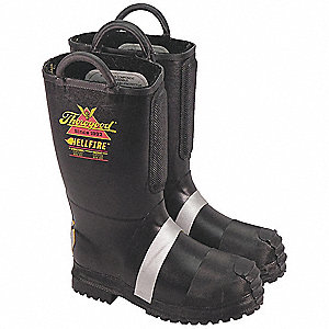 Men's Insulated Firefighter Boots, Size 9-1/2, Footwear Width: M, Footwear Closure Type: Pull On