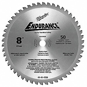 "8"" Cermet Metal Cutting Circular Saw Blade, Number of Teeth: 50"