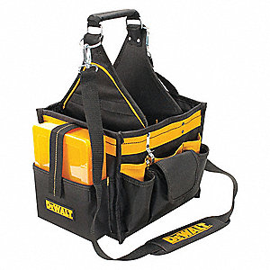 Polyester Tool Tote, Electricians, Number of Pockets: 23, Black/Yellow