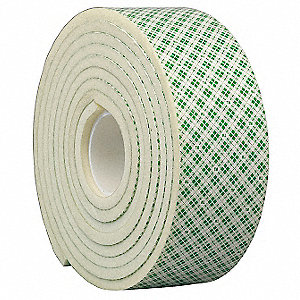 Double Coated Tape,6 In x 5 yd.,Natural