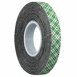 "2"" x 5 yd. Vinyl Double Sided Tape, 31 mil, Black, 1EA"